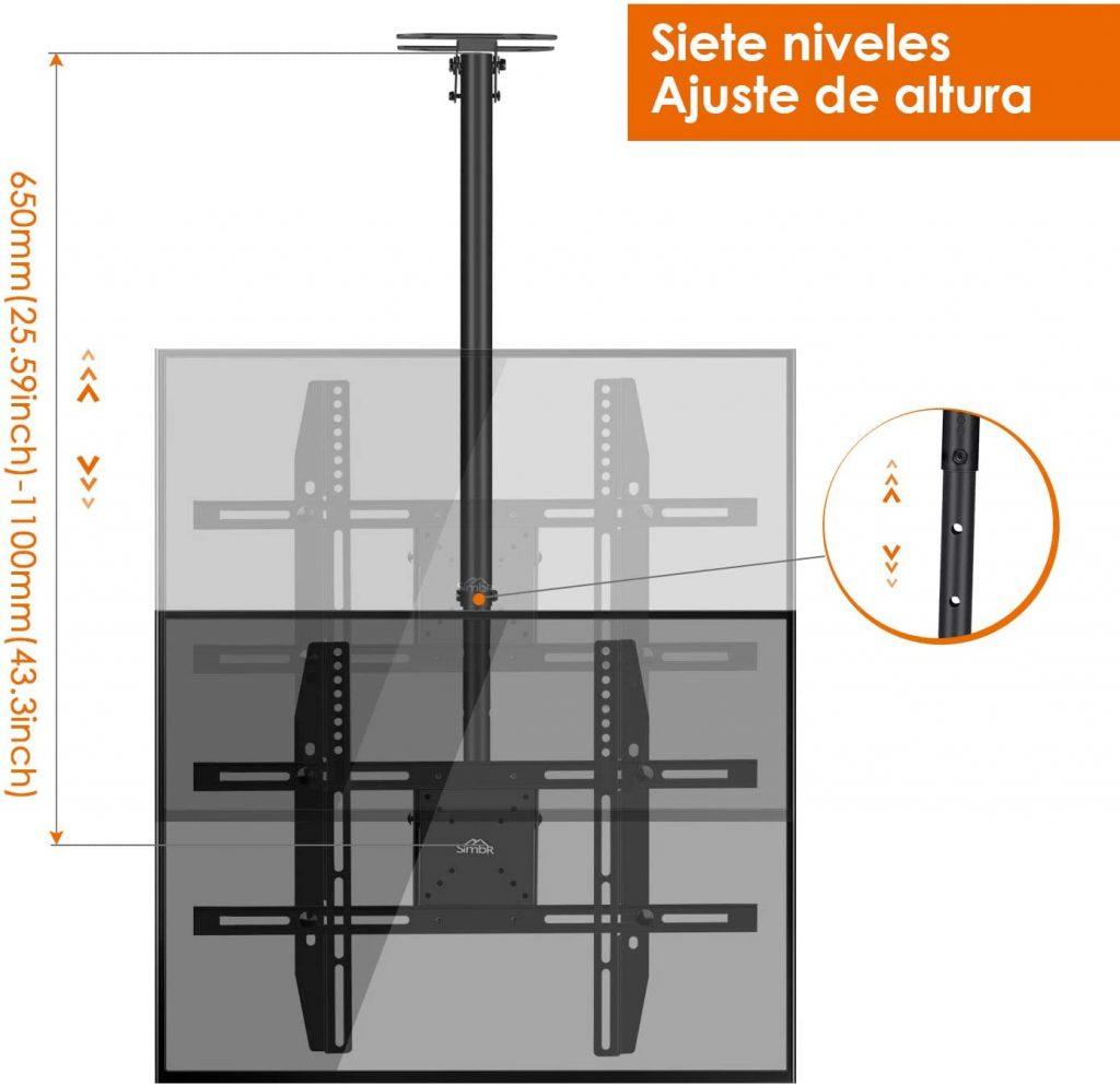 Soporte TV de techo SIMBR con altura ajustable 7 niveles toshiba soporte tv samsung 55 pulgadas