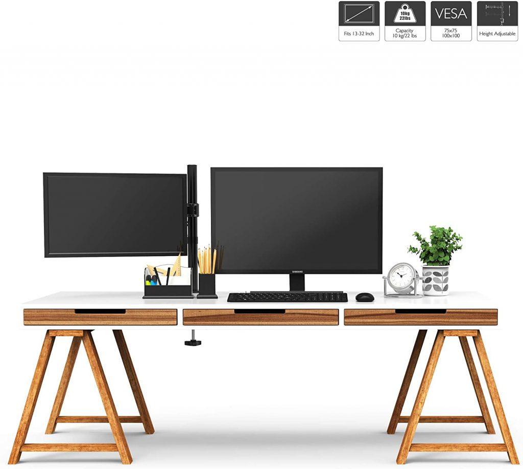 Soporte de monitor y tv BONTEC, base ajustable de brazo de escritorio con monitor de pie soporte vesa