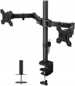 Soporte para monitores de doble brazo BONTEC y base ajustable. Para escritorio pantallas de monitor de tv, lcd y computadora u ordenadores hasta 27 pulgadas